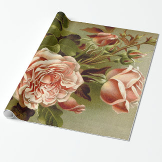 Cabbage Rose Flowers Wrapping Paper