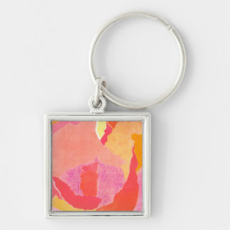 Cabbage Rose IV Silver-Colored Square Key Ring