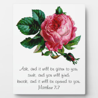 Cabbage Rose Scripture Plaque