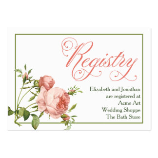 Cabbage Rose Wedding Registry Information Card Pack Of Chubby Business Cards
