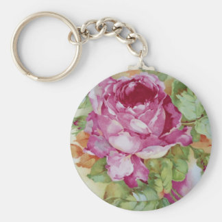 Cabbage Roses Basic Round Button Key Ring