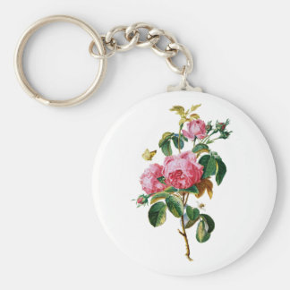 Cabbage Roses Drawn From Nature Key Chain