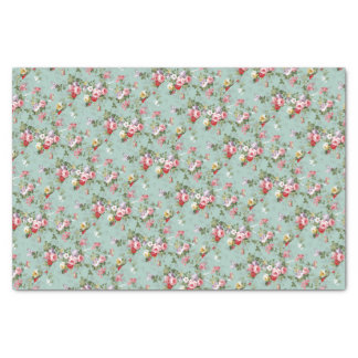Cabbage Roses on Pale Blue Tissue Paper