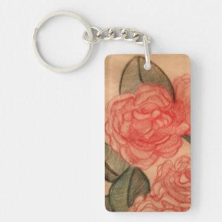 Cabbage Roses Single-Sided Rectangular Acrylic Key Ring