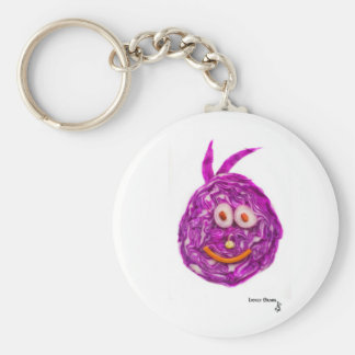 Cabbage Smiley Face Basic Round Button Key Ring