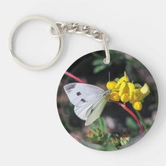 Cabbage White Single-Sided Round Acrylic Key Ring