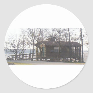 Cabin at the Lake Round Sticker
