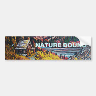Cabin by the Lake Oil Painting Bumper Sticker