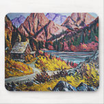 Cabin by the Lake Oil Painting Mouse Pad