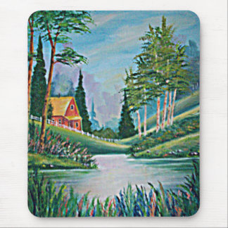 Cabin by the Stream Oil Painting Mouse Pad