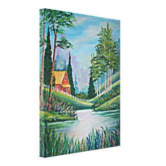 Cabin by the Stream Oil Painting Stretched Canvas Prints