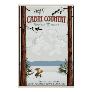 Cabin Country Vintage Travel poster