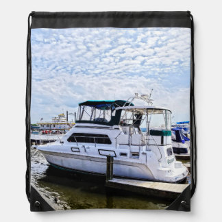 Cabin Cruisers by Founders Park Alexandria VA Drawstring Bags