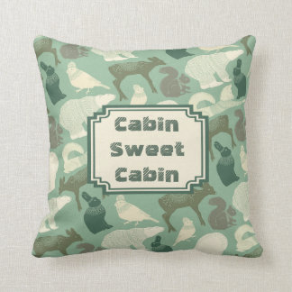 Cabin Forest Animals Green Pattern Throw Pillow