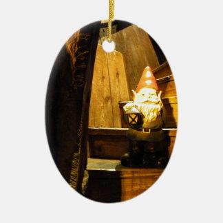 Cabin Gnome Ceramic Oval Decoration