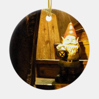 Cabin Gnome Round Ceramic Decoration