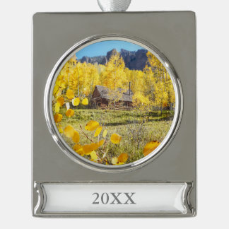Cabin in Aspens Silver Plated Banner Ornament