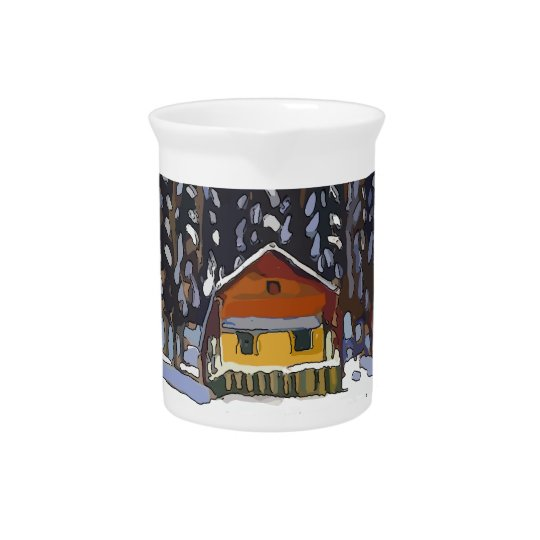 Cabin In Snow Pitcher