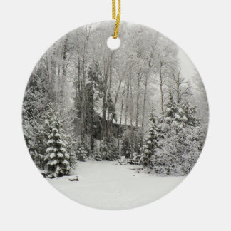 Cabin in Snowfall Ornament
