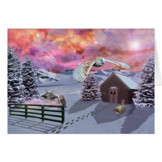 Cabin in the snow card