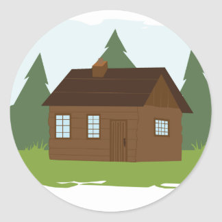 Cabin in the Trees Classic Round Sticker