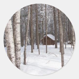 Cabin in winter stickers