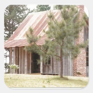 cabin on the hill square sticker
