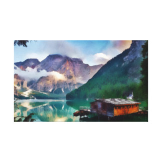 Cabin On The Lake Canvas Print
