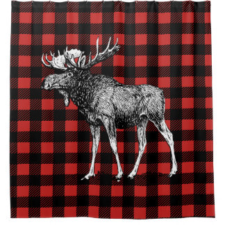 Cabin Rustic Moose & Buffalo Plaid Shower Curtain