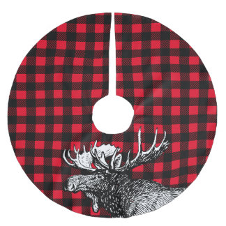 Cabin Rustic Moose Red and Black Plaid Brushed Polyester Tree Skirt