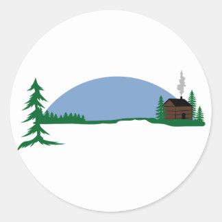 Cabin Scene Round Sticker