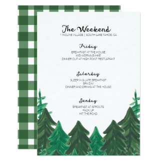 Cabin Weekend Itinerary - Bachelorette Party Weeke Card