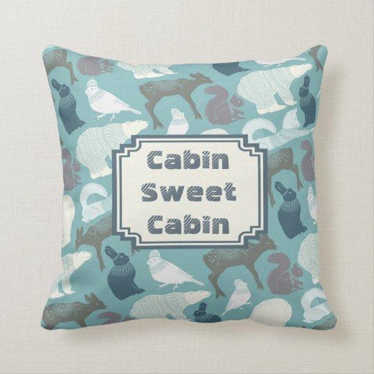 Cabin Winter Forest Animals Pattern Cushion