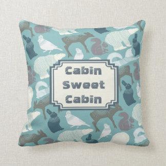 Cabin Winter Forest Animals Pattern Throw Pillow