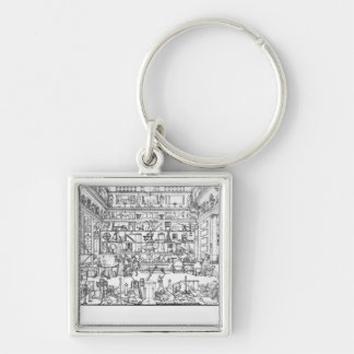 Cabinet of physics, 1687 Silver-Colored square key ring