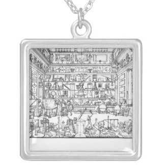 Cabinet of physics, 1687 silver plated necklace