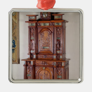 Cabinet with two sections, and a double door Silver-Colored square decoration