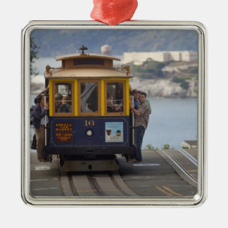 Cable car chugs up Hyde Street in San Silver-Colored Square Decoration