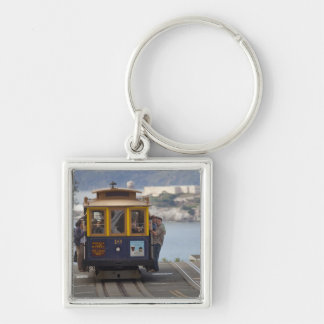 Cable car chugs up Hyde Street in San Silver-Colored Square Key Ring