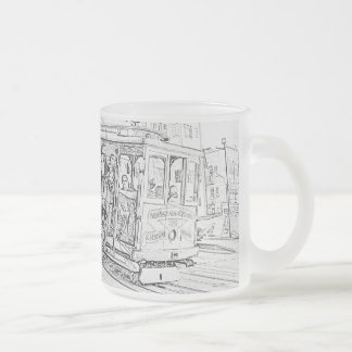 Cable Car Frosted Glass Mug