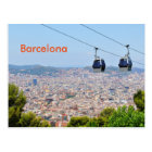 Cable cars (funiculars) in Barcelona Postcard