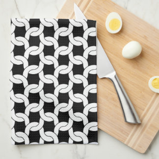 Cable Knit Crochet Pattern in Black and White Tea Towel