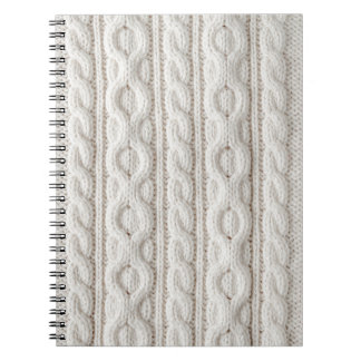 Cable knit fabric background spiral notebooks