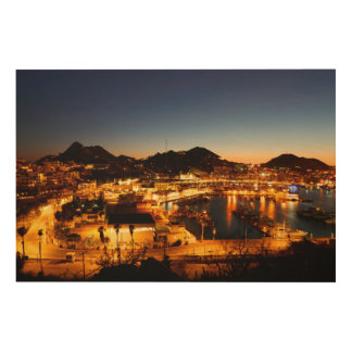 Cabo San Lucas Cityscape At Sunset, Mexico Wood Wall Decor
