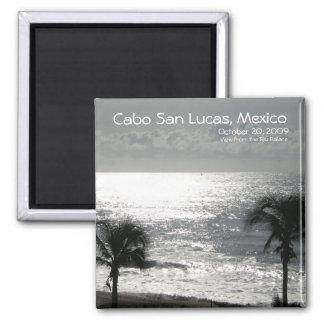 Cabo San Lucas, Mexico coastal view (black/white) Square Magnet
