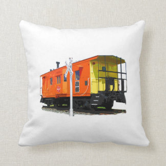 Caboose And Railroad Crossing Sign Cushion