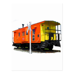 Caboose And Railroad Crossing Sign Postcard