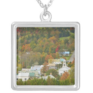 Cabot, Vermont in fall. Northeast Kingdom. Silver Plated Necklace