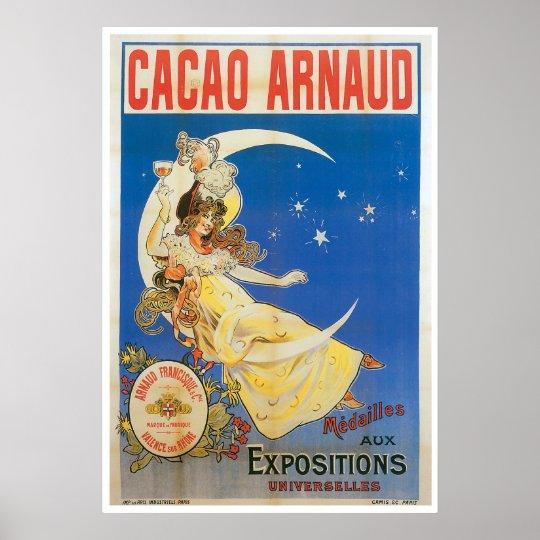 Cacao Arnaud Vintage Chocolate Drink Ad Art Poster