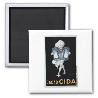 Cacao Cida Vintage Food Ad Art Square Magnet